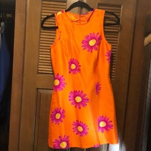 Sue Wong size P floral pink orange daisy dress